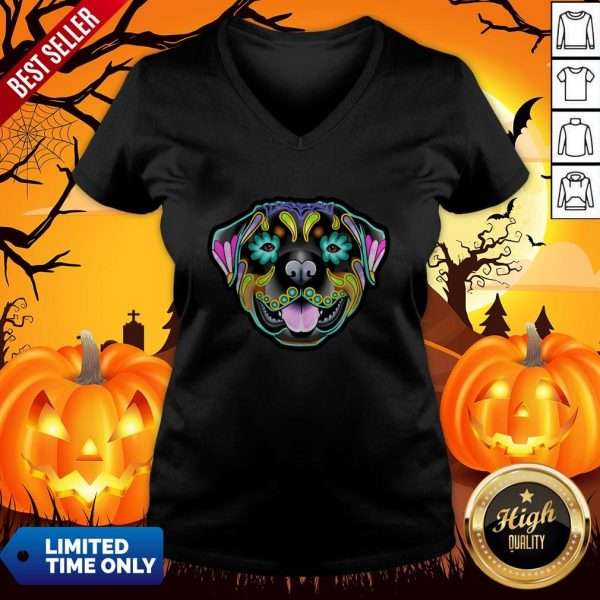 Day Of The Dead Sugar Skull Rottweiler Dog V-neck