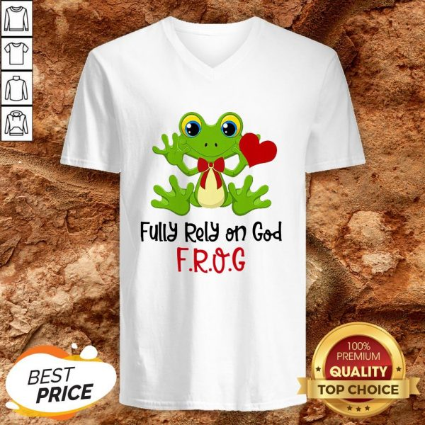 Frog Heart Fully Rely On God V-neck