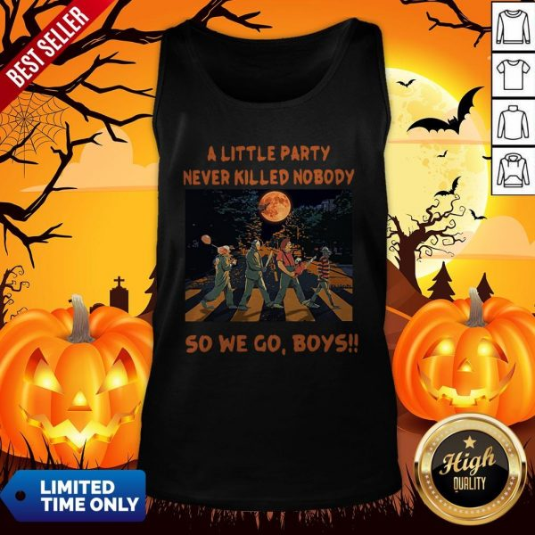 Halloween Horror Abbey Road A Little Party Never So We Go Boys Tank TopHalloween Horror Abbey Road A Little Party Never So We Go Boys Tank Top