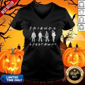 Halloween Horror Characters Mask Friends 6 Feet Away V-neckHalloween Horror Characters Mask Friends 6 Feet Away V-neck
