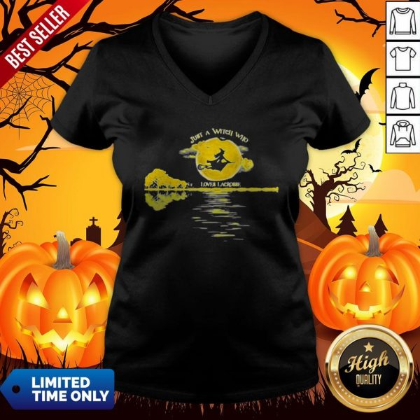 Halloween Just A Witch Who Loves Lacrosse Moon V-neckHalloween Just A Witch Who Loves Lacrosse Moon V-neck