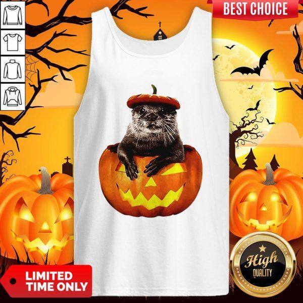 Halloween Otter Pumpkin Tank Top