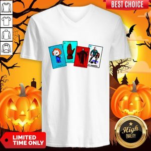 Halloween The Characters Horror Card V-neckHalloween The Characters Horror Card V-neck