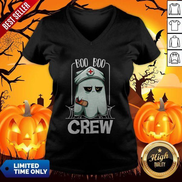 Hot Halloween Ghost Nurse Boo Boo Crew V-neck