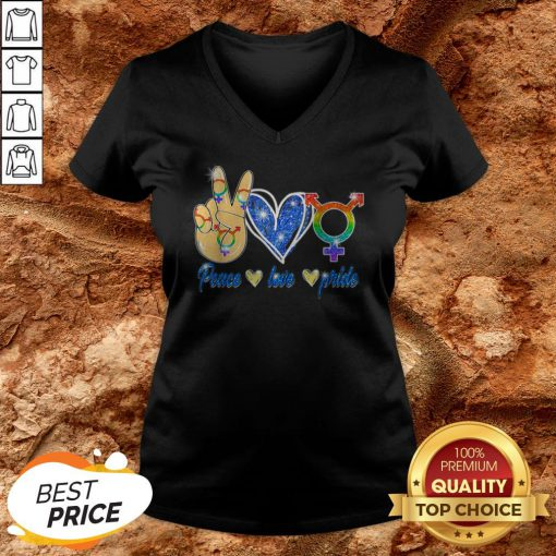 LGBT Lesbian Gay Bisexual Peace Love Gift Apparel V-neck