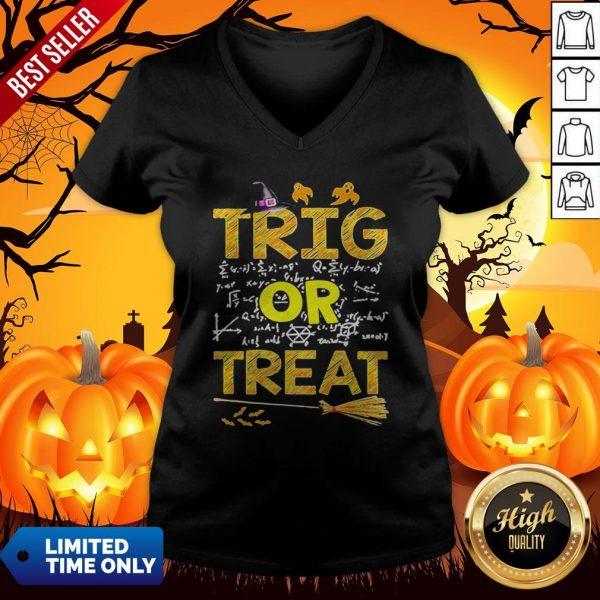 Math Teacher Trig Or Treat StudentSchool College Halloween v-neck