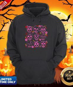 Mexican Pink Sugar Skulls Day Of The Dead Muertos Hoodie