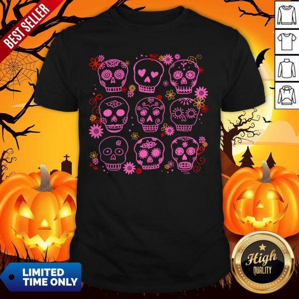Mexican Pink Sugar Skulls Day Of The Dead Muertos Shirt