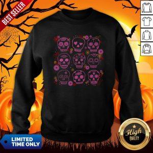 Mexican Pink Sugar Skulls Day Of The Dead Muertos Sweatshirt