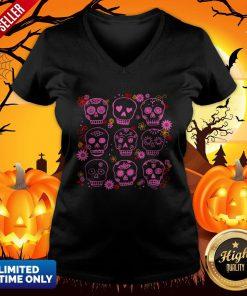 Mexican Pink Sugar Skulls Day Of The Dead Muertos V-neck