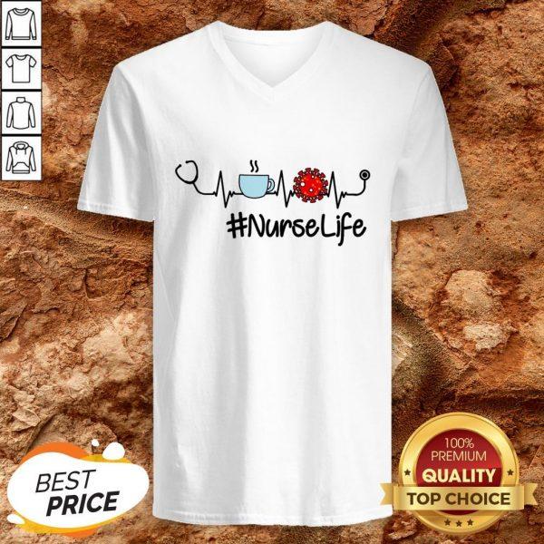 Nurse Life Coffee Nursing Heartbeat Love V-neck