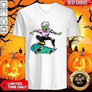 Original Halloween Skateboarder Costume Kids Gift V-neck