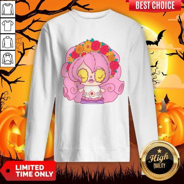 Pretty Pink Dia De Muertos Day Of The Dead Sugar Skull Sweatshirt