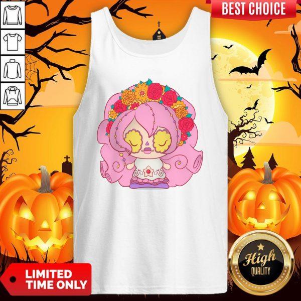 Pretty Pink Dia De Muertos Day Of The Dead Sugar Skull Tank Top