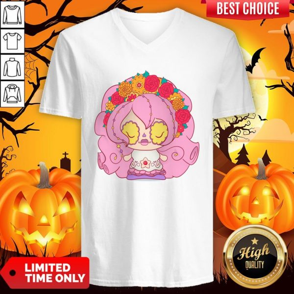 Pretty Pink Dia De Muertos Day Of The Dead Sugar Skull V-neck