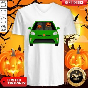 Pumpkin Family Drive In The Car Halloween V-neck