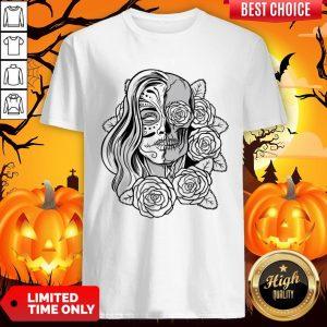 Skull Women Tattoo Black Rose Day Of The Dead Shirt