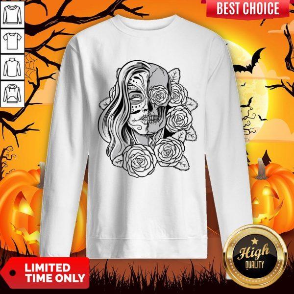 Skull Women Tattoo Black Rose Day Of The Dead Sweatshirt