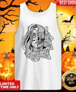 Skull Women Tattoo Black Rose Day Of The Dead Tank Top