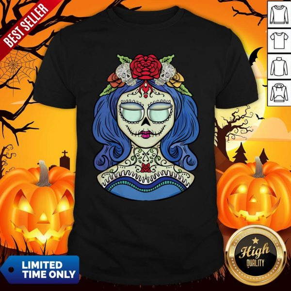 Sugar Skull Dia De Muertos Day Of The Dead Woman Halloween Shirt