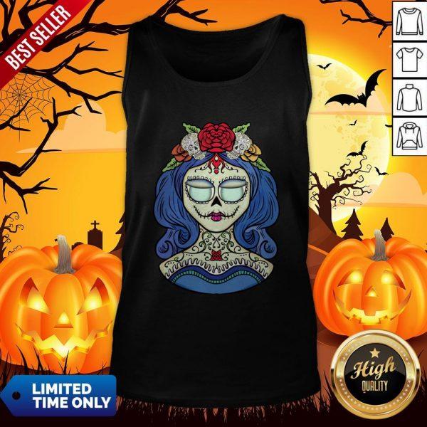 Sugar Skull Dia De Muertos Day Of The Dead Woman Halloween Tank Top