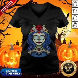Sugar Skull Dia De Muertos Day Of The Dead Woman Halloween Sugar Skull Dia De Muertos Day Of The Dead Woman Halloween V-neck