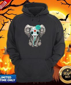 Sugar Skull Elephant Day Of The Dead Halloween Hoodie