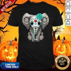 Sugar Skull Elephant Day Of The Dead Halloween Shirt