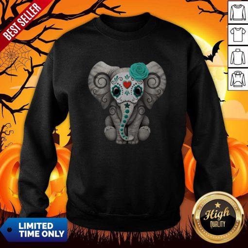 Sugar Skull Elephant Day Of The Dead Halloween Sweatshirt