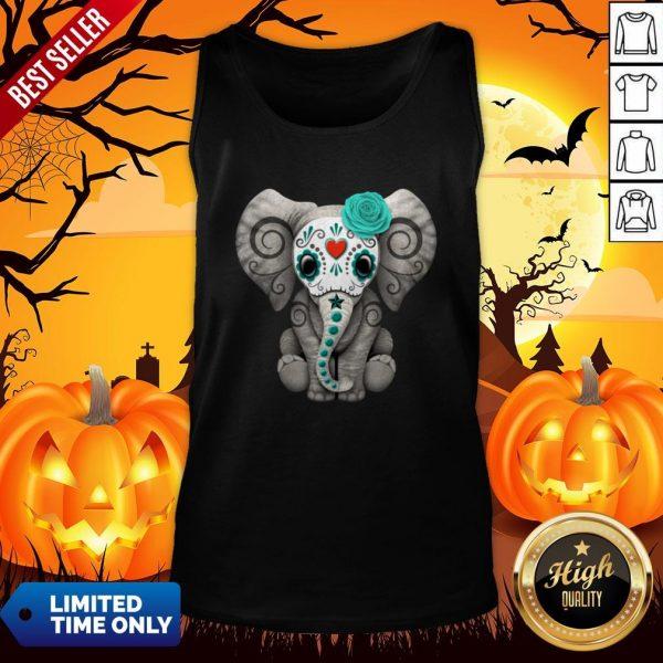 Sugar Skull Elephant Day Of The Dead Halloween Tank Top