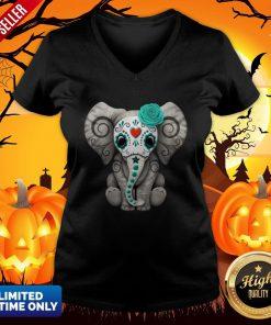 Sugar Skull Elephant Day Of The Dead Halloween V-neck