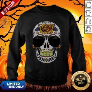 Sugar Skull Wearing Sunglasses Day Of The Dead Sweatshirt