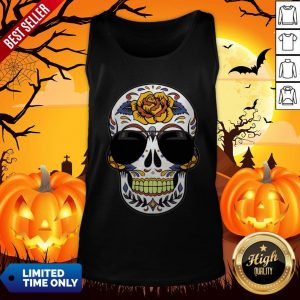 Sugar Skull Wearing Sunglasses Day Of The Dead Tank Top