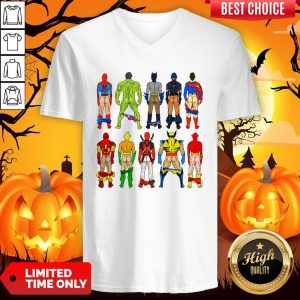 Superhero Butts Multicultural Experience Halloween Day V-neckSuperhero Butts Multicultural Experience Halloween Day V-neck