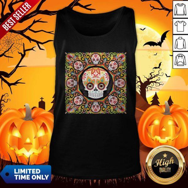 The Mexican Holiday Día De Muertos Sugar Skull Mandala Tank Top