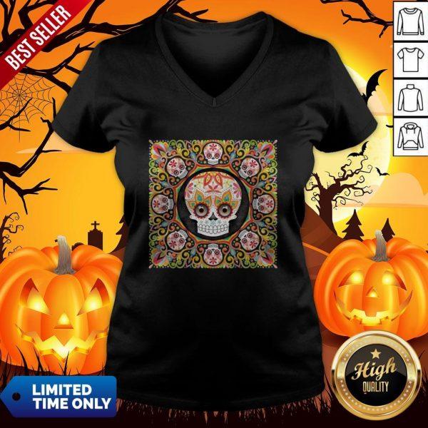 The Mexican Holiday Día De Muertos Sugar Skull Mandala V-neck