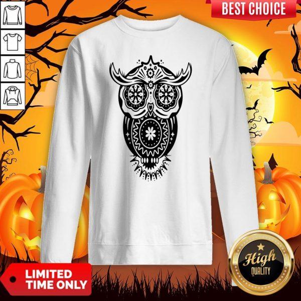 The Mexican Owl Sugar Skulls Dia De Los Muertos Day Dead Sweatshirt