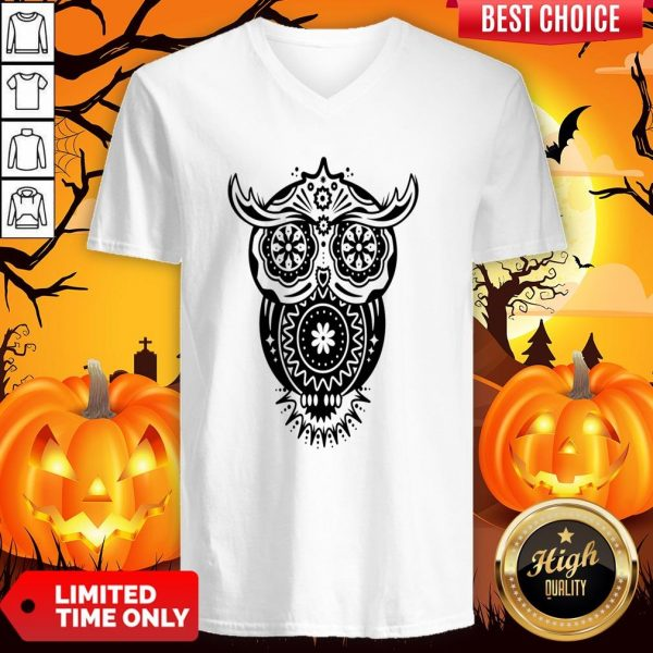 The Mexican Owl Sugar Skulls Dia De Los Muertos Day Dead V-neck