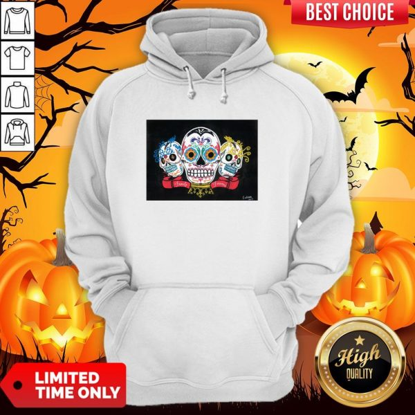 Three Sugar Skulls Brothers Family Forever Day Of The Dead Hoodie
