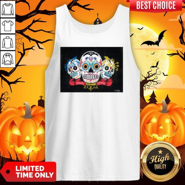 Three Sugar Skulls Brothers Family Forever Day Of The Dead Tank Top
