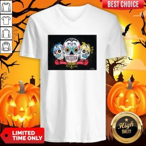 Three Sugar Skulls Brothers Family Forever Day Of The Dead V-neck