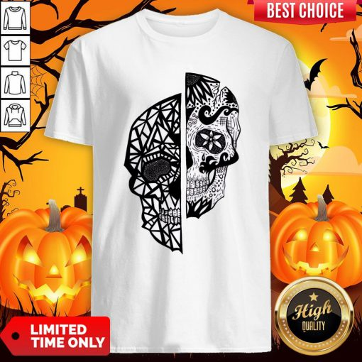 Two Faces Sugar Skull Dia De Los Muertos Day Of The Dead Shirt
