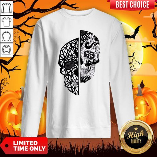 Two Faces Sugar Skull Dia De Los Muertos Day Of The Dead Sweatshirt