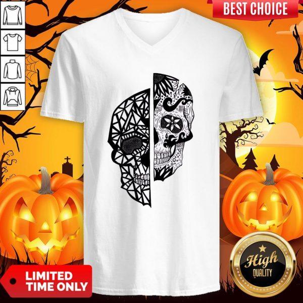 Two Faces Sugar Skull Dia De Los Muertos Day Of The Dead V-neck