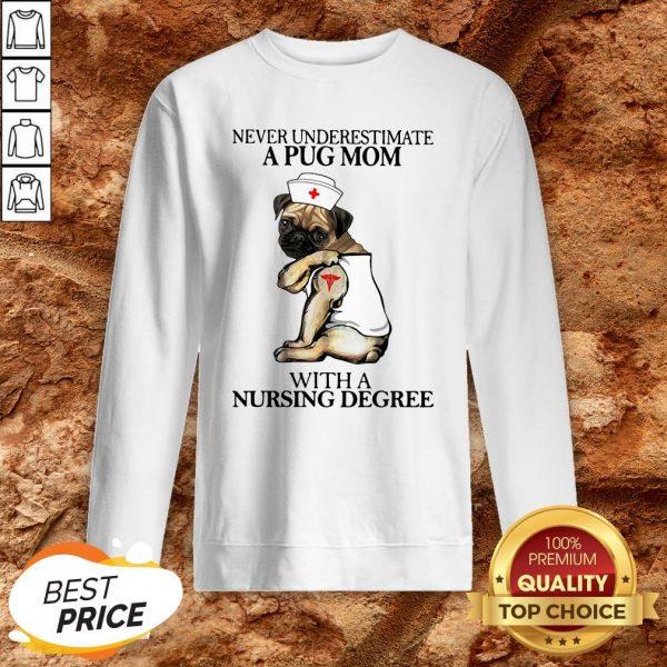 Underestimate A Pug Mom With A Nursing Degree Sweatshirt