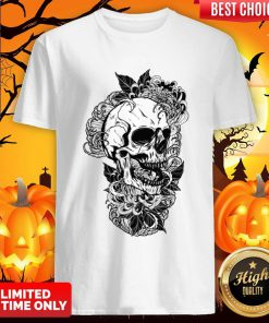 Vintage Sugar Skull With Flower Lover Day Of The Dead Shirt