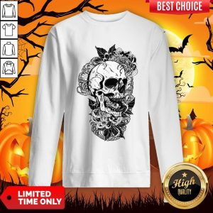 Vintage Sugar Skull With Flower Lover Day Of The Dead Sweatshirt