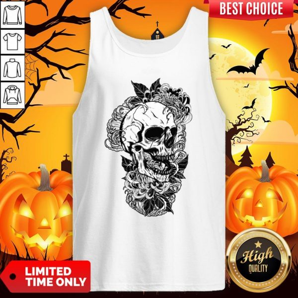 Vintage Sugar Skull With Flower Lover Day Of The Dead Tank Top
