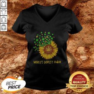 World's Dopest Mom Sunflower Weed V-neck