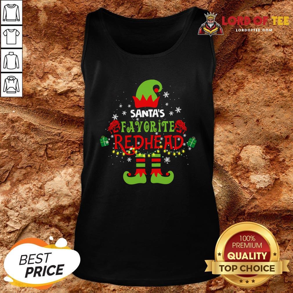 Funny Santa's Favorite Redhead Christmas Tank Top Design By Lordoftee.com